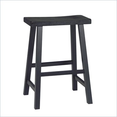 International Concepts 24&quot; Saddleseat Counter Stool in Distressed Black