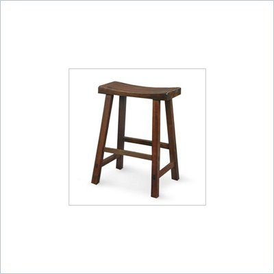 International Concepts 24&quot; Saddleseat Counter Stool in Distressed Walnut
