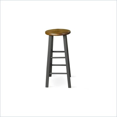 "International Concepts 24"" Round Top Counter Stool in Black and Cherry"