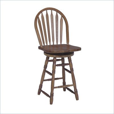 International Concepts 24&quot; Arrowback Counter Stool with Swivel in Medium Oak