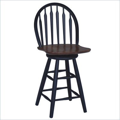 International Concepts 24&quot; Windsor Arrowback Swivel Counter Stool in Black