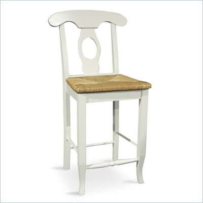 "International Concepts Simply Linen 24""H Empire Rush Seat Bar Stool in Linen White"