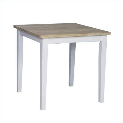 International Concepts Square Casual Dining Table in White and Natural Finish