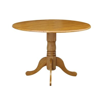 International Concepts - Round 42&quot; Dual Drop Leaf Dining Table in Oak Finish