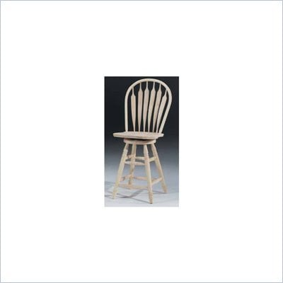 "International Concepts 24"" Steambent Unfinished Arrow Windsor Swivel Stool"
