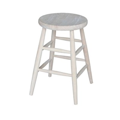 International Concepts 24&quot; Unfinished Scooped Seat Stool