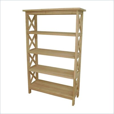International Concepts Unfinished Wood X-Sided 4 Tier Bookcase