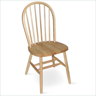 "International Concepts 37"" Spindleback Windsor Wood Side Chair in Natural Finish"