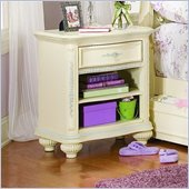Lea Jessica McClintock Romance Open 1 Drawer Nightstand with 1 Fixed Shelf and Antique White Wood Finish