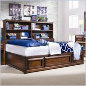 Lea Elite Expressions Kids Bookcase Platform Storage Bed in Root Beer Cherry Finish