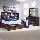 Lea Elite Expressions Kids Bookcase Platform Storage Bed 4 Piece Bedroom Set in Root Beer Cherry Finish