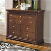 Lea Elite Classics 10 Drawer Bureau in Brown Cherry Finish