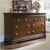 Lea Elite Classics 7 Drawer Double Dresser in Brown Cherry Finish
