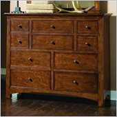 Lea Elite Crossover 10 Drawer Bureau Double Dresser in Burnished Cherry Finish
