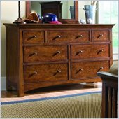 Lea Elite Crossover 7 Drawer Double Dresser in Burnished Cherry Finish