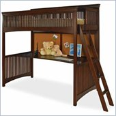 Lea Elite Crossover Wood Frame Loft Bed in Burnished Cherry Finish