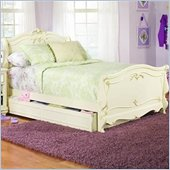 Lea Jessica McLintock Romance Kids Wood Sleigh Bed in Antique White 3 Piece Bedroom Set