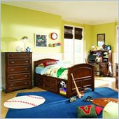 Lea Deer Run Kids Wood Captain's Bed in Brown Cherry 4 Piece Bedroom Set