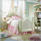 Lea Emma's Treasure Kids Wood Mansion Panel Bed 4 Piece Bedroom Set in Vintage White