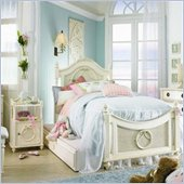 Lea Emma's Treasure Kids Wood Poster Bed 4 Piece Bedroom Set in Vintage White