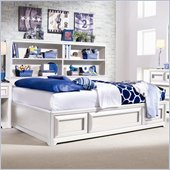 Lea Elite Reflections Kids Bookcase Platform Storage Bed in Aspen White Finish