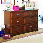 Lea Deer Run 6 Drawer Double Dresser in Brown Cherry