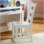 Lea Haley Wood Frame Desk Chair in White Finish