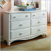 Lea Haley 6 Drawer Double Dresser in White Finish