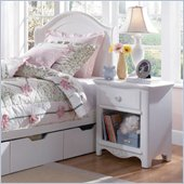 Lea Haley Wood Top Nightstand in White Finish