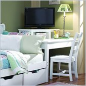 Lea Haley Wood Top Corner Unit with Built-in Storage in White Finish
