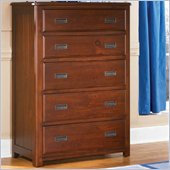 Lea Dillon 5 Drawer Chest in Distressed Brown Cherry Finish