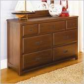 Lea Dillon 7 Drawer Double Dresser in Distressed Brown Cherry Finish