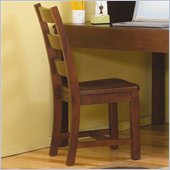Lea Dillon Wood Desk Chair in Distressed Brown Cherry Finish