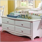 Lea Haley Kids 4 Drawer Footboard Double Dresser in White Finish