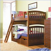 Lea Dillon Wood Bunk Bed in Distressed Brown Cherry Finish