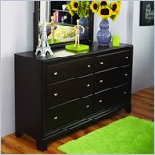 Lea Midtown 6 Drawer Double Dresser in Dark Cherry Finish