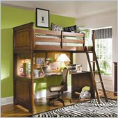 Lea Elite Classics Loft Bed with Top Desk Panel in Brown Cherry Finish