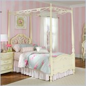 Lea Jessica Mcclintock Romance Metal and Wood Poster Bed in Antique White