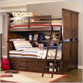 Lea Covington Bunk Bed with Storage and Bookcase in Cherry