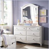 Lea Haley 6 Drawer Double Dresser and Mirror Set in White Finish