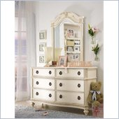 Lea Emma's Treasures 6 Drawer Double Dresser and Mirror Set in White