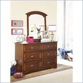 Lea Deer Run 6 Drawer Double Dresser and Mirror Set in Brown Cherry