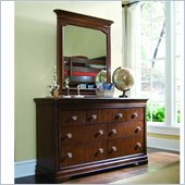 Lea Elite Classics 7 Drawer Double Dresser and Vertical Mirror Set