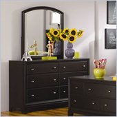 Lea Midtown 6 Drawer Double Dresser and Mirror Set in Dark Cherry