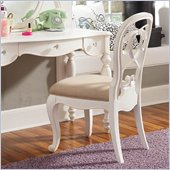 Lea Elite Vintage Boutique Vanity Desk Chair Fabric Seat-KD in Vintage White