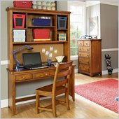 Lea Elite Logan County Desk with Hutch in Burnished Pine