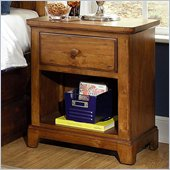 Lea Elite Logan County Nightstand in Burnished Pine