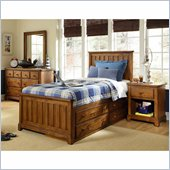 Lea Elite Logan County Panel Bed in Burnished Pine