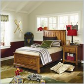 Lea Elite Logan County Storage Bed in Distressed and Burnished Pine