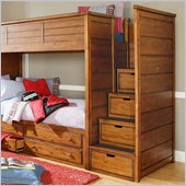Lea Elite Logan County Bunk Bed Steps in Burnished Pine